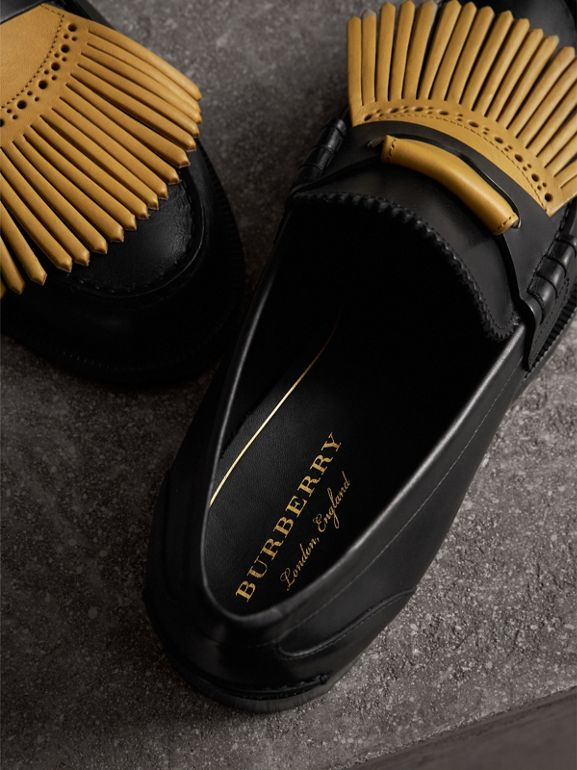 Contrast Kiltie Fringe Leather Loafers in Black/pale Saffron Yellow - Men | Burberry United Kingdom - cell image 1