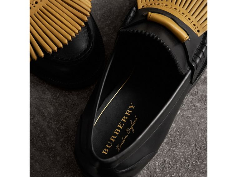 Contrast Kiltie Fringe Leather Loafers in Black/pale Saffron Yellow - Men | Burberry - cell image 1