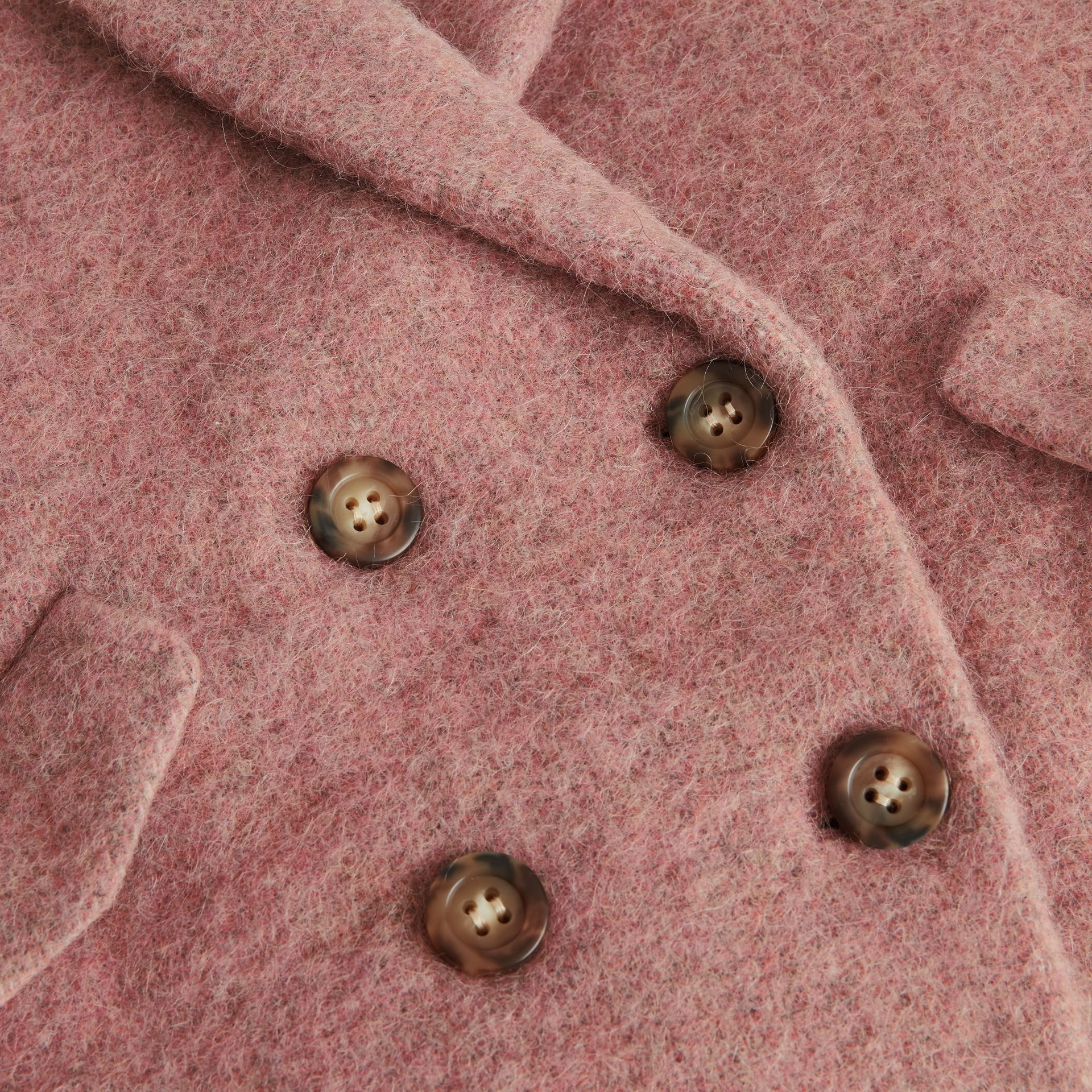 Wool Alpaca Blend Tailored Coat in Rose Pink Melange | Burberry - gallery image 1