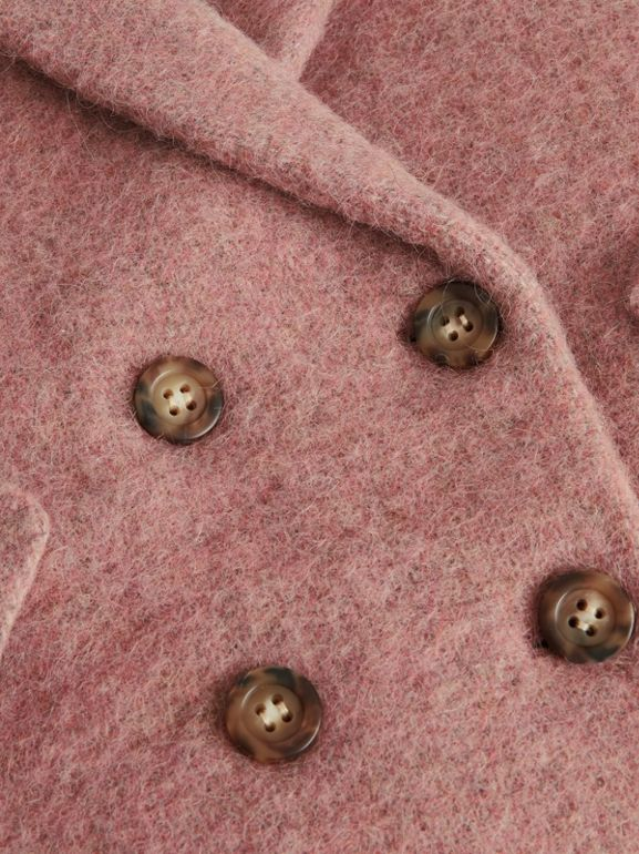 Wool Alpaca Blend Tailored Coat in Rose Pink Melange | Burberry United States - cell image 1