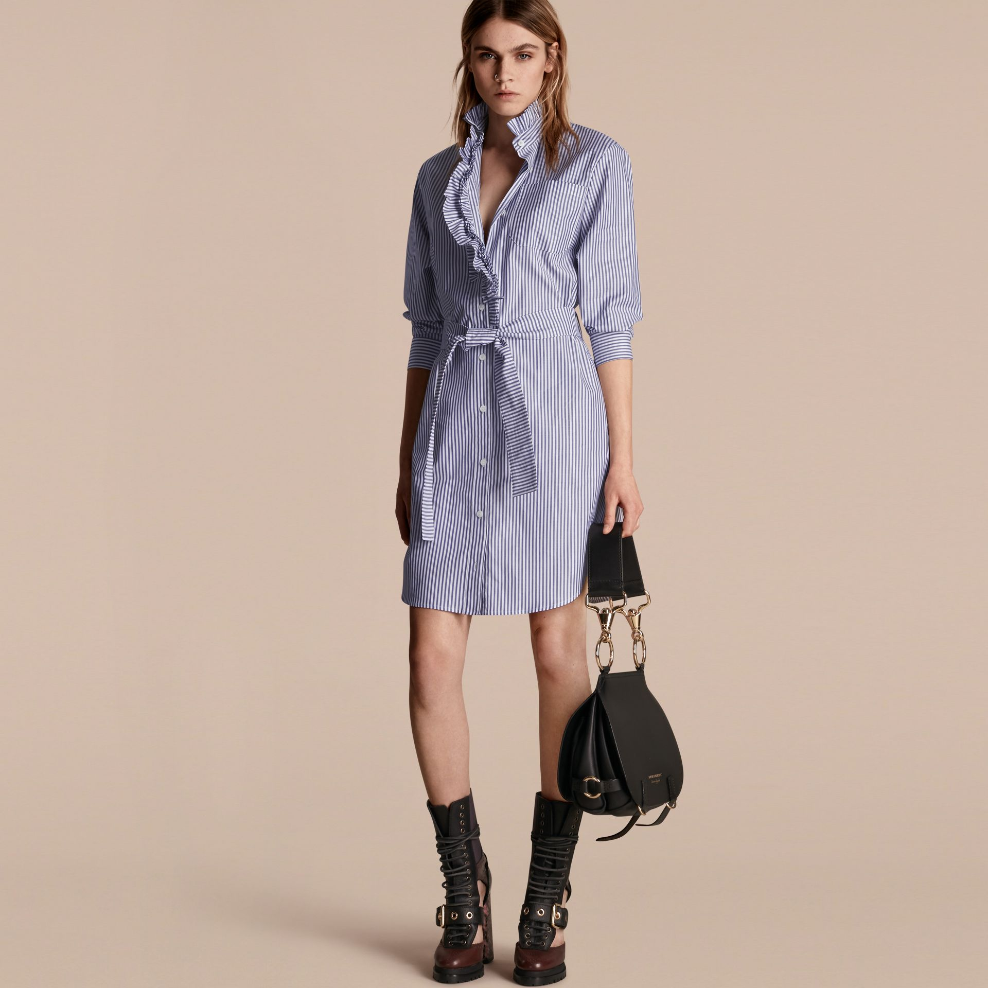 Navy Striped Cotton Shirt Dress with Ruffles - gallery image 1
