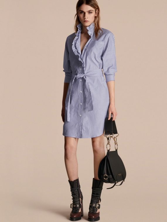 Striped Cotton Shirt Dress with Ruffles