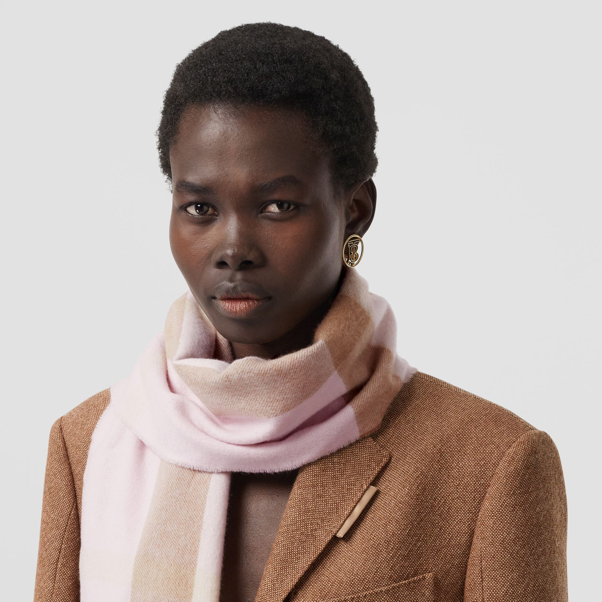 Check Cashmere Scarf in Alabaster Pink | Burberry United States - gallery image 2