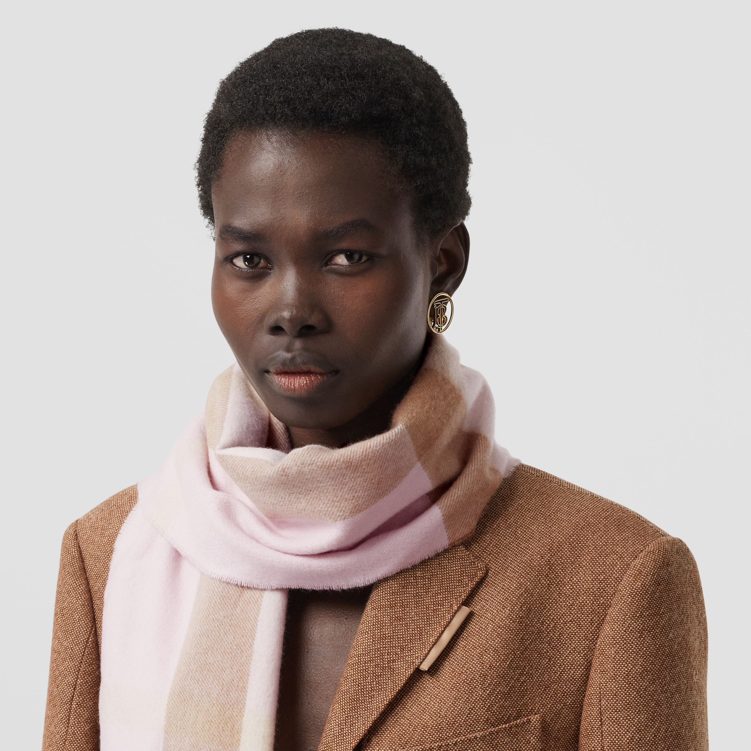Check Cashmere Scarf in Alabaster Pink | Burberry - 3