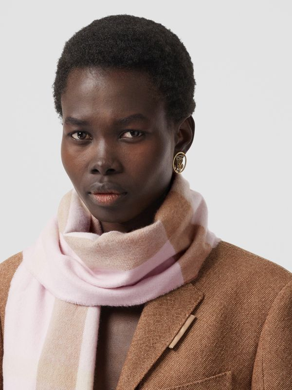 Check Cashmere Scarf in Alabaster Pink | Burberry - cell image 2
