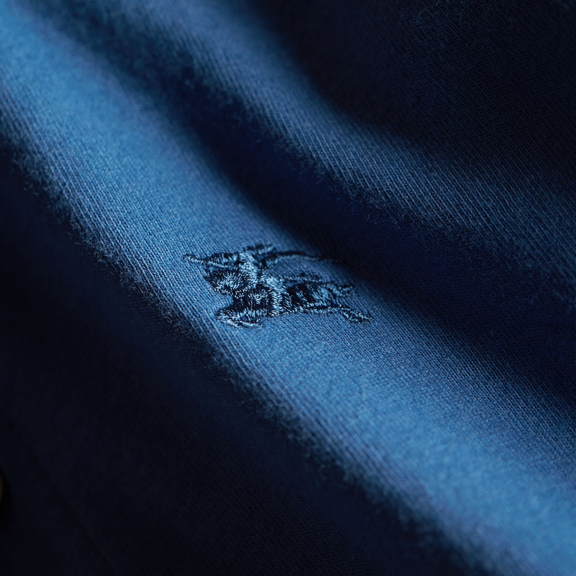 Long-sleeve Cotton Jersey Polo Shirt in Marine Blue - Boy | Burberry - gallery image 2