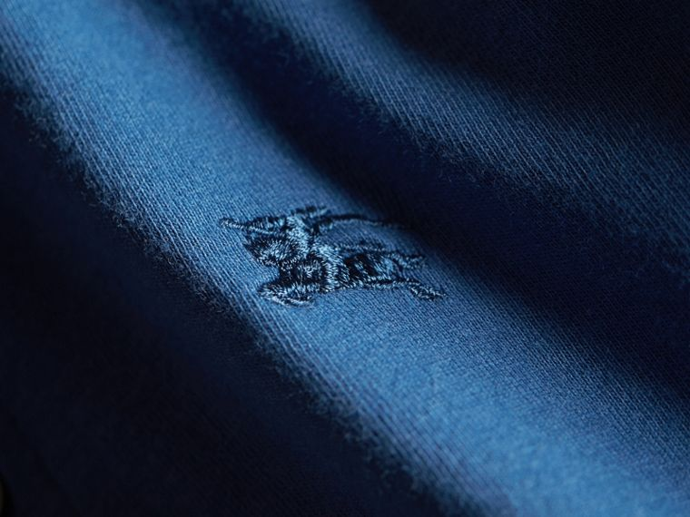 Long-sleeve Cotton Jersey Polo Shirt in Marine Blue - Boy | Burberry - cell image 1