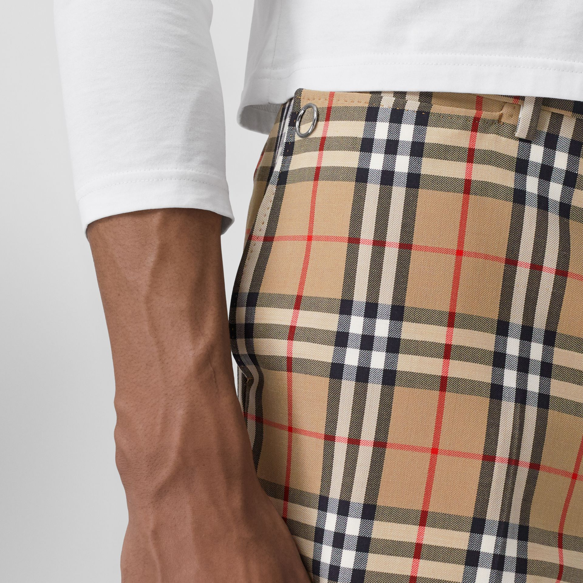 Vintage Check Wool Mohair Tailored Trousers in Archive Beige - Men | Burberry United Kingdom - gallery image 1