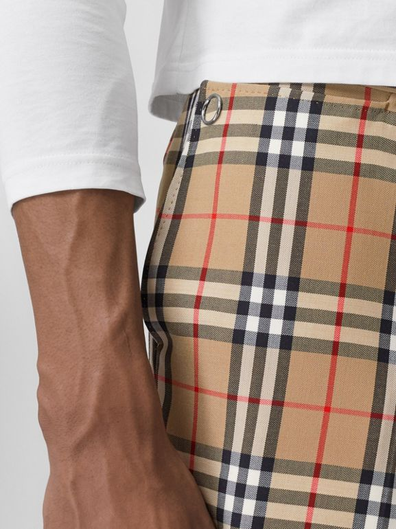 Vintage Check Wool Mohair Tailored Trousers in Archive Beige - Men | Burberry United Kingdom - cell image 1