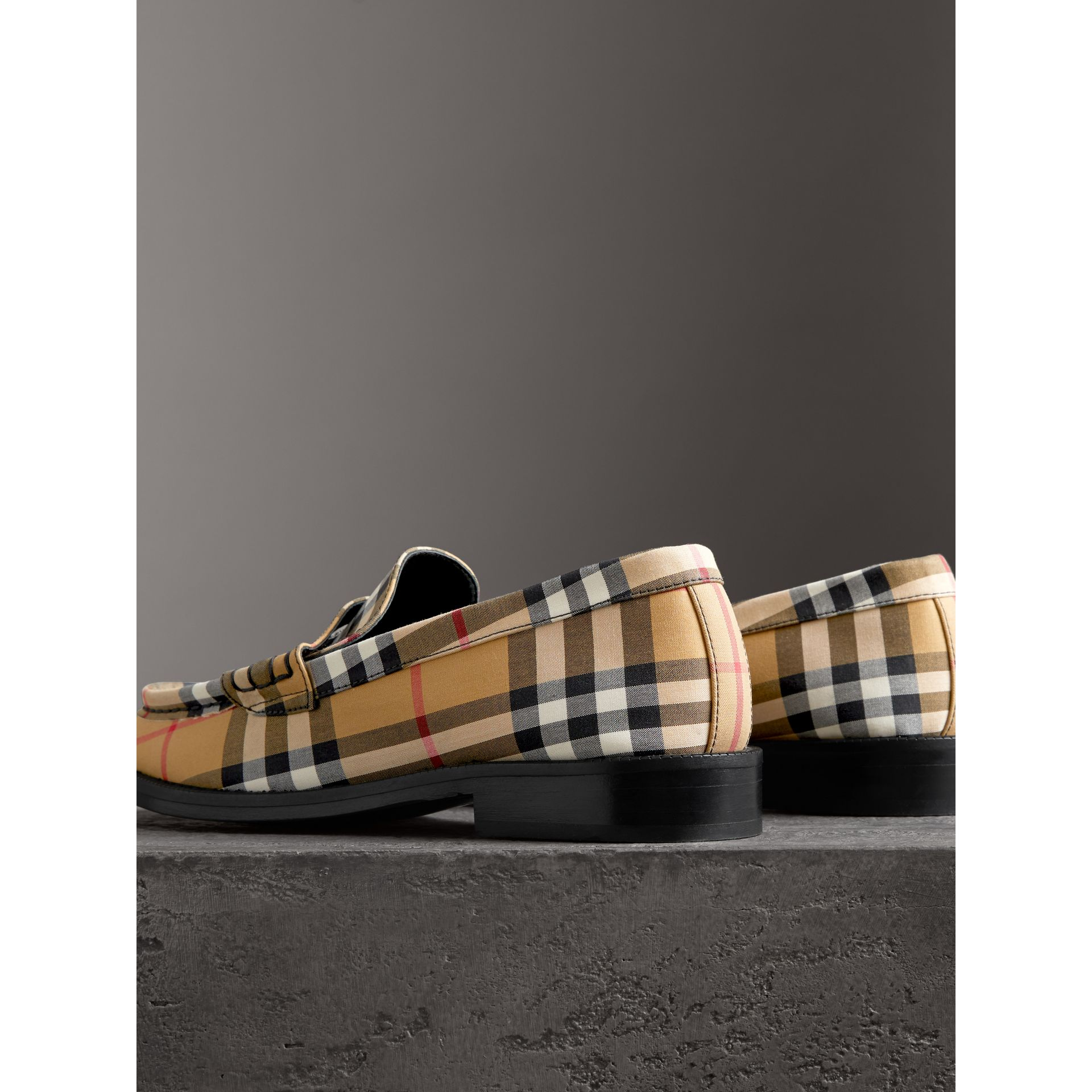 Vintage Check Cotton Penny Loafers in Antique Yellow - Women | Burberry United Kingdom - gallery image 2