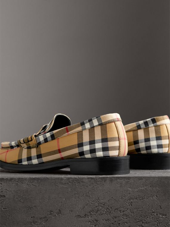 Vintage Check Cotton Penny Loafers in Antique Yellow - Women | Burberry - cell image 2
