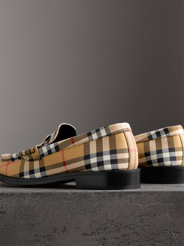 Vintage Check Cotton Penny Loafers in Antique Yellow - Women | Burberry Singapore - cell image 2