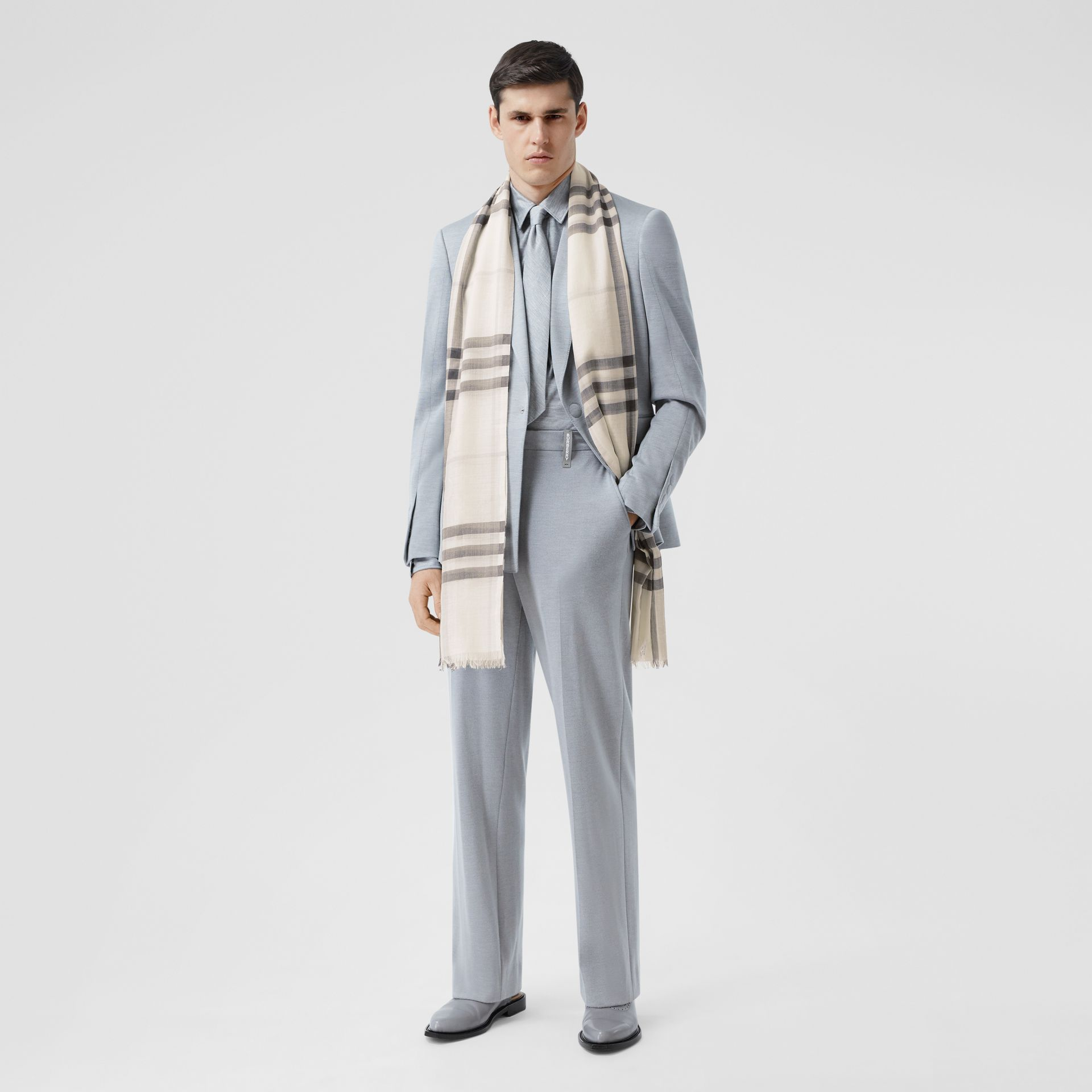 Lightweight Check Wool Silk Scarf in White/light Grey | Burberry - gallery image 7
