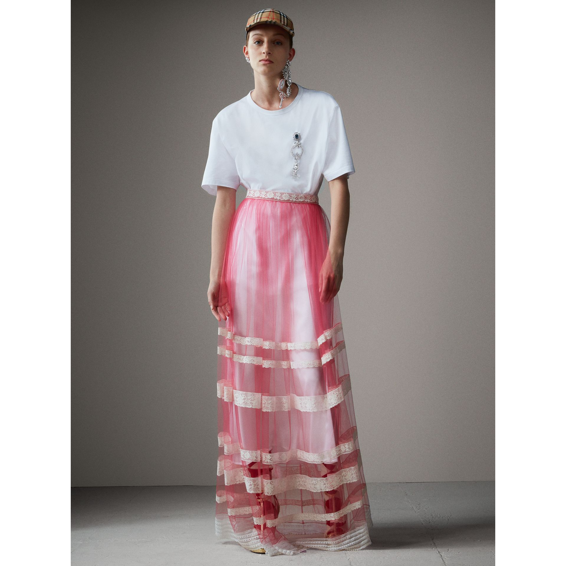 Floor-length English Lace Trim Tulle Skirt in Bright Pink - Women | Burberry Singapore - gallery image 6