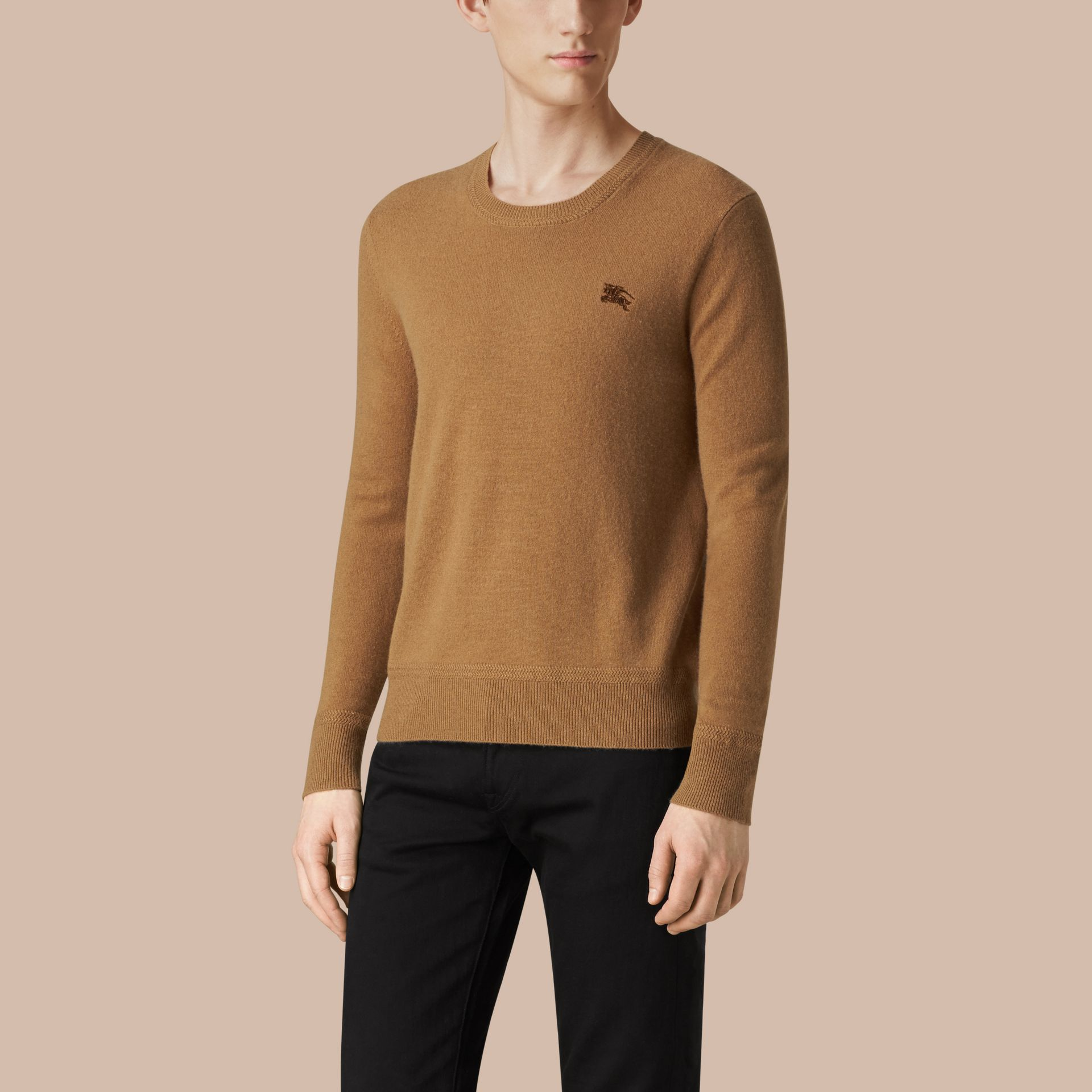 Mid camel Crew Neck Cashmere Sweater Mid Camel - gallery image 3