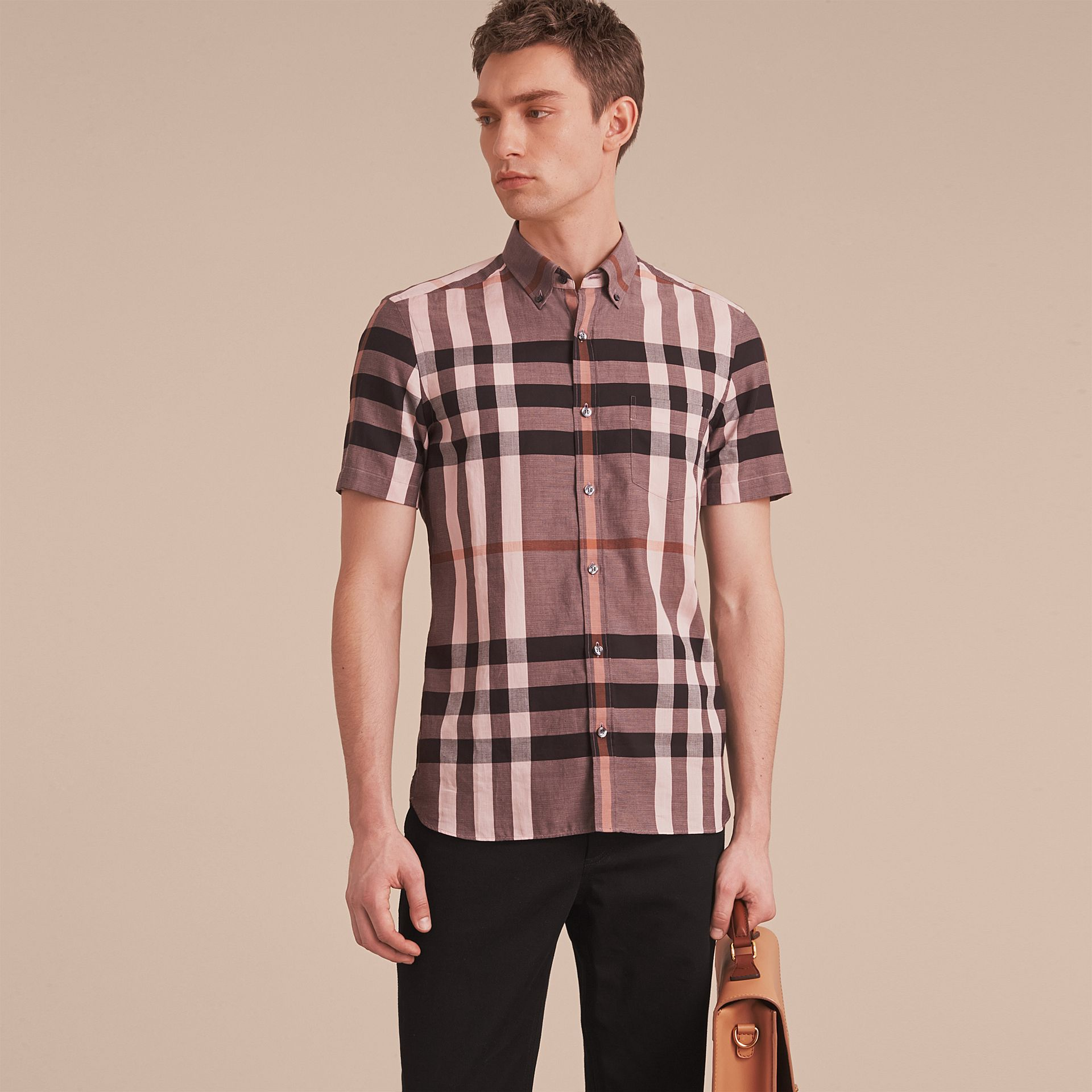 Button-down Collar Short-sleeve Check Cotton Shirt in Antique Rose - gallery image 6