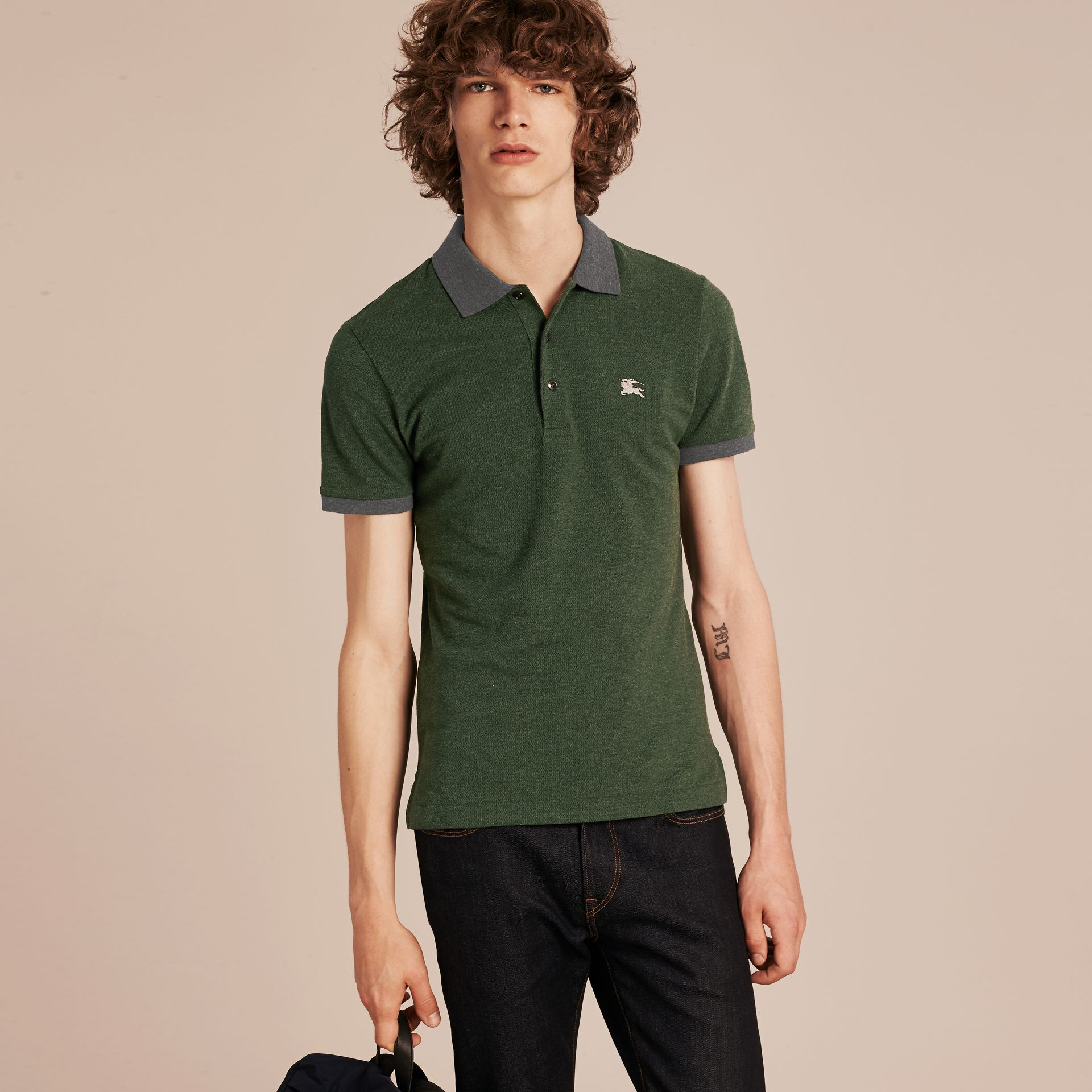 Racing green melange Contrast Colour Detail Cotton Piqué Polo Shirt Racing Green Melange - gallery image 6
