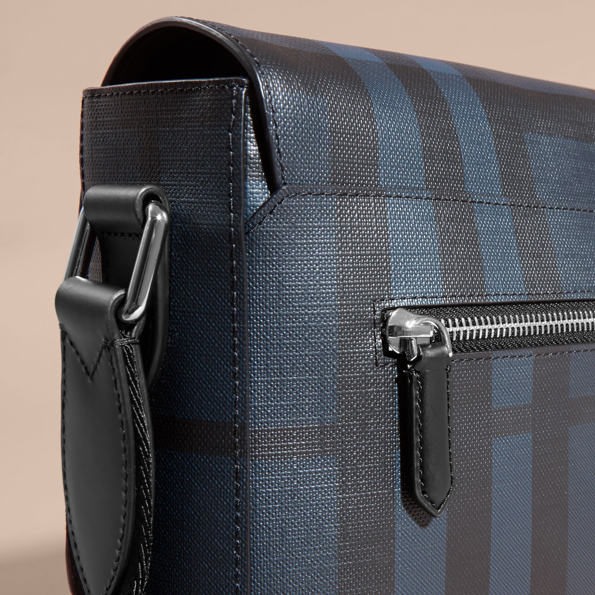 Medium Leather Trim London Check Messenger Bag in Navy/black - Men | Burberry - gallery image 6