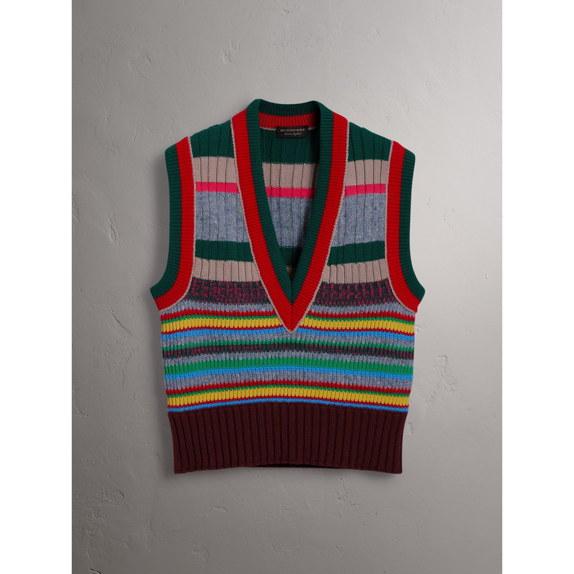 Striped Cashmere Blend V-neck Tank Top in Multicolour - Women | Burberry - gallery image 4