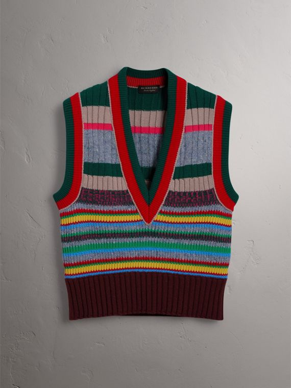 Striped Cashmere Blend V-neck Tank Top in Multicolour - Women | Burberry - cell image 3
