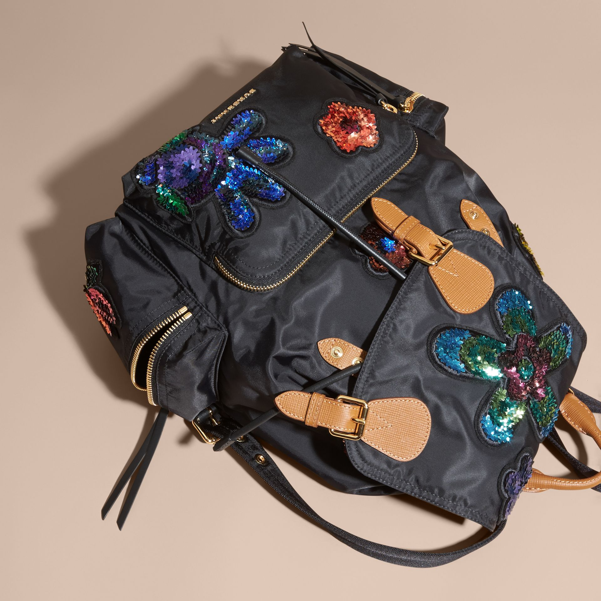 Black The Large Rucksack in Technical Nylon with Sequinned Flowers - gallery image 7