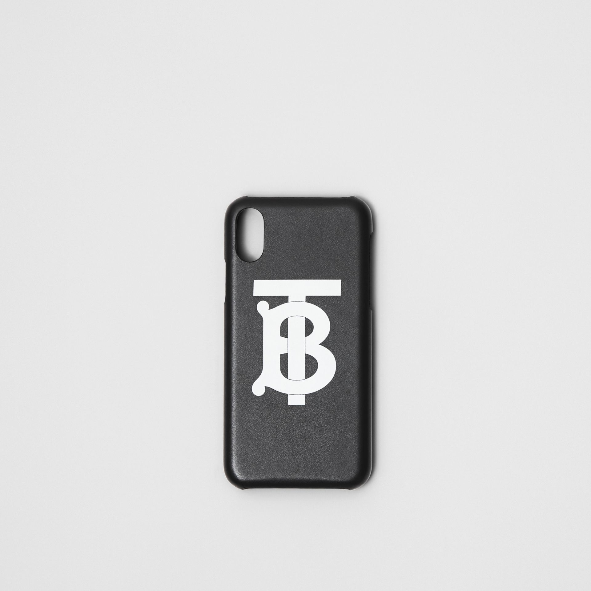 Monogram Motif Leather iPhone X/XS Case in Black - Men | Burberry Canada - gallery image 0