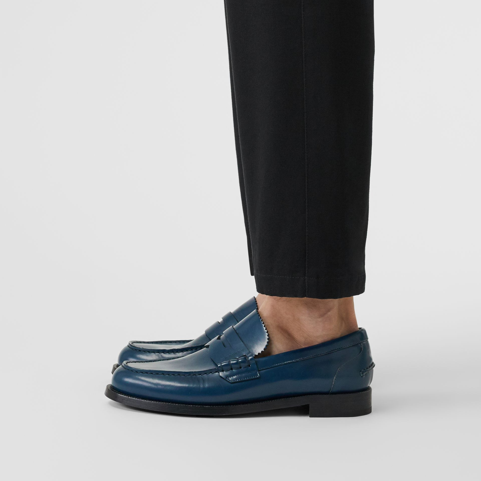 Leather Penny Loafers in Navy - Men | Burberry Singapore - gallery image 2