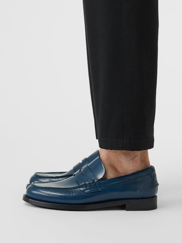 Leather Penny Loafers in Navy - Men | Burberry Canada - cell image 2