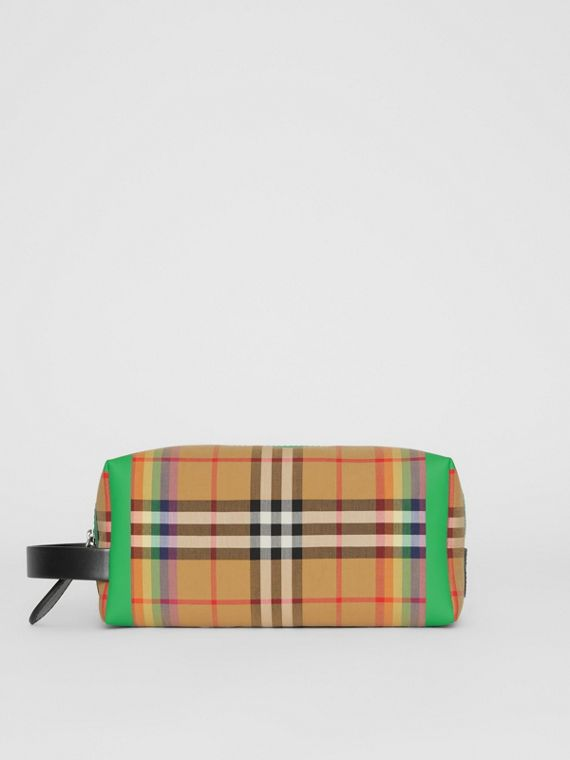 Rainbow Vintage Check Cotton Pouch in Antique Yellow