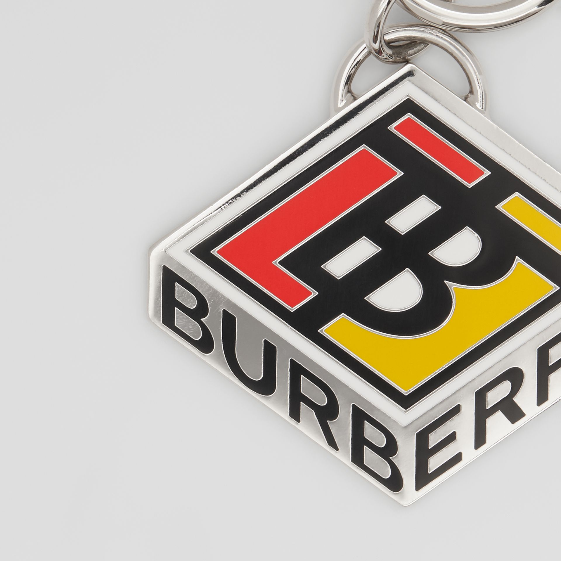 Logo Graphic Palladium-Plated Key Ring in Multicolour - Men | Burberry - gallery image 1