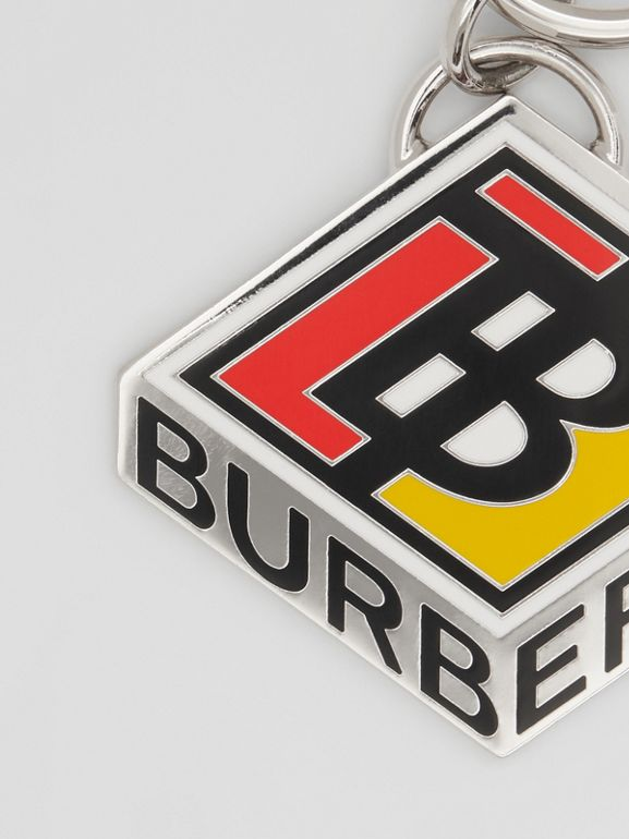 Logo Graphic Palladium-Plated Key Ring in Multicolour - Men | Burberry - cell image 1