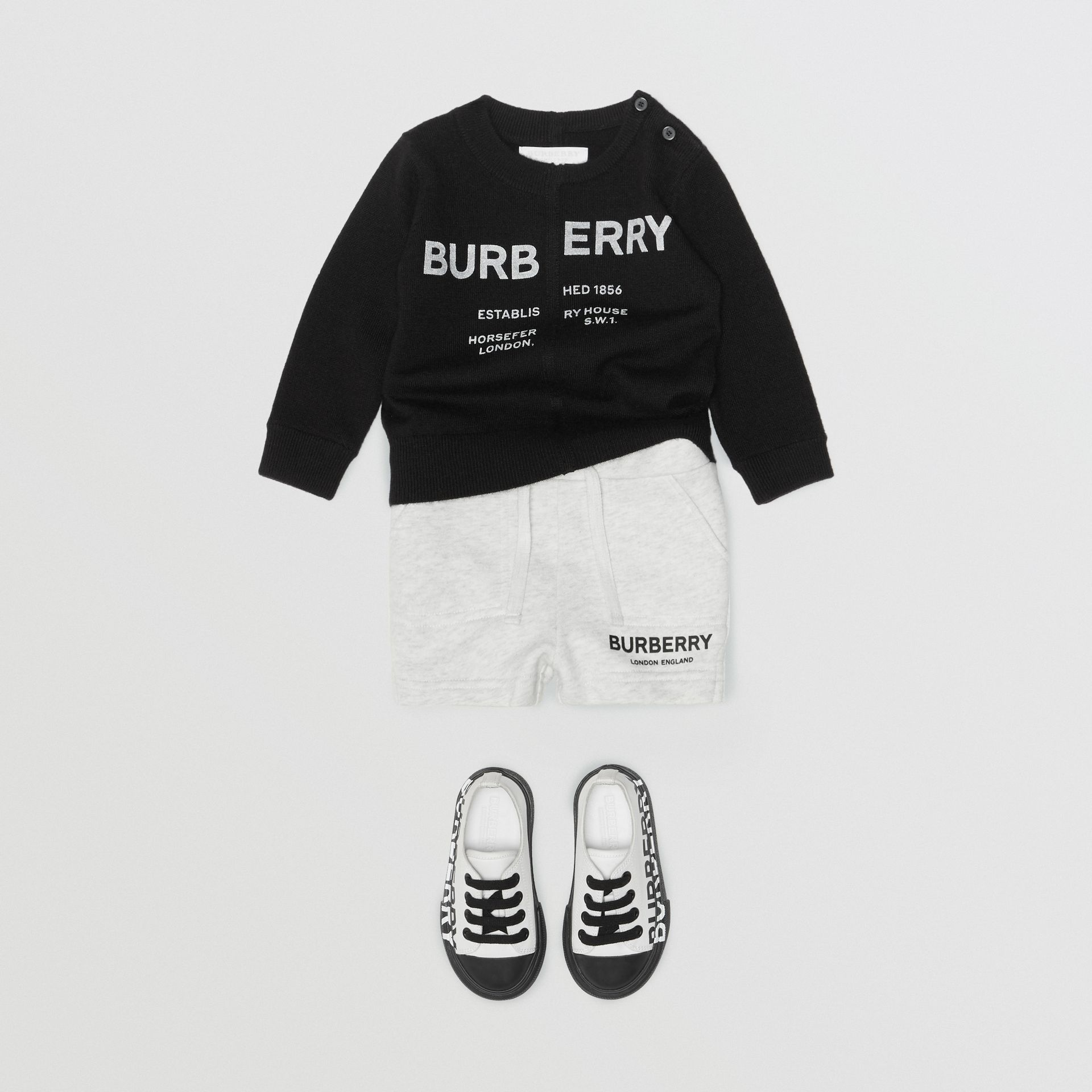 Logo Print Cotton Drawcord Shorts in White Melange - Children | Burberry Singapore - gallery image 3