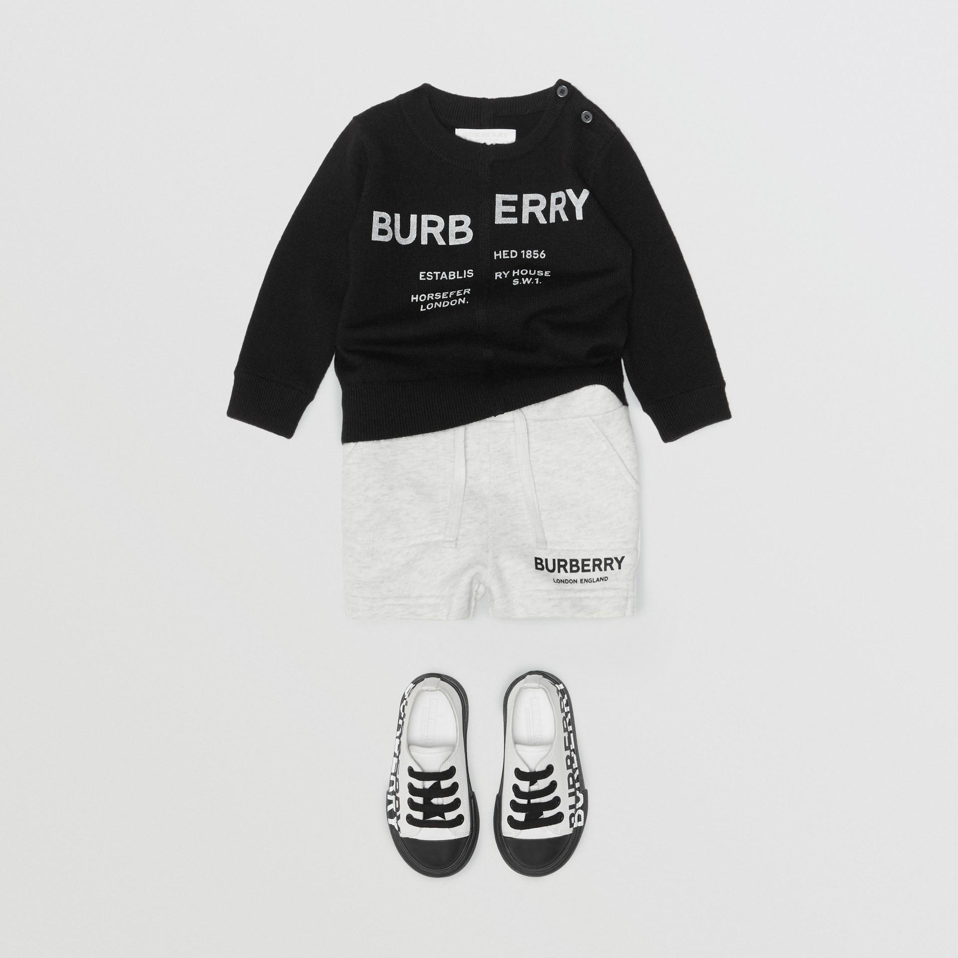 Logo Print Cotton Drawcord Shorts in White Melange - Children | Burberry Canada - gallery image 3