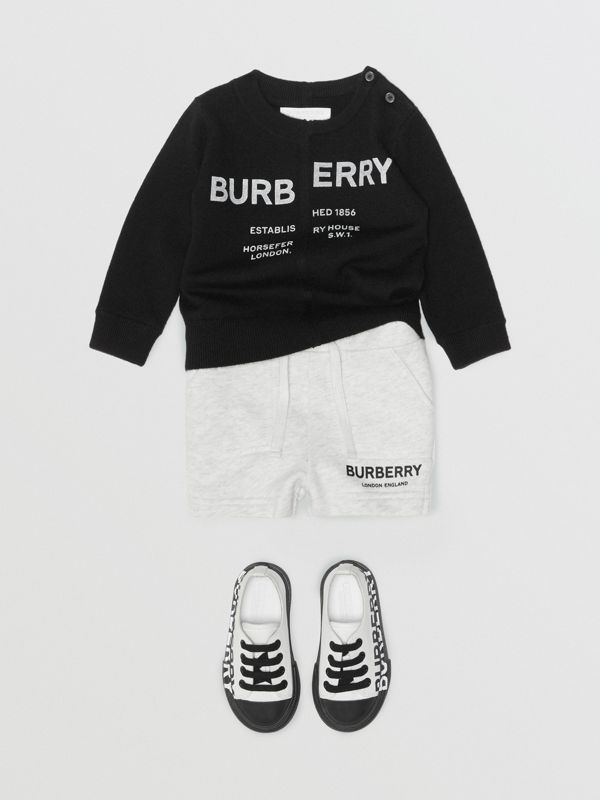 Logo Print Cotton Drawcord Shorts in White Melange - Children | Burberry - cell image 3