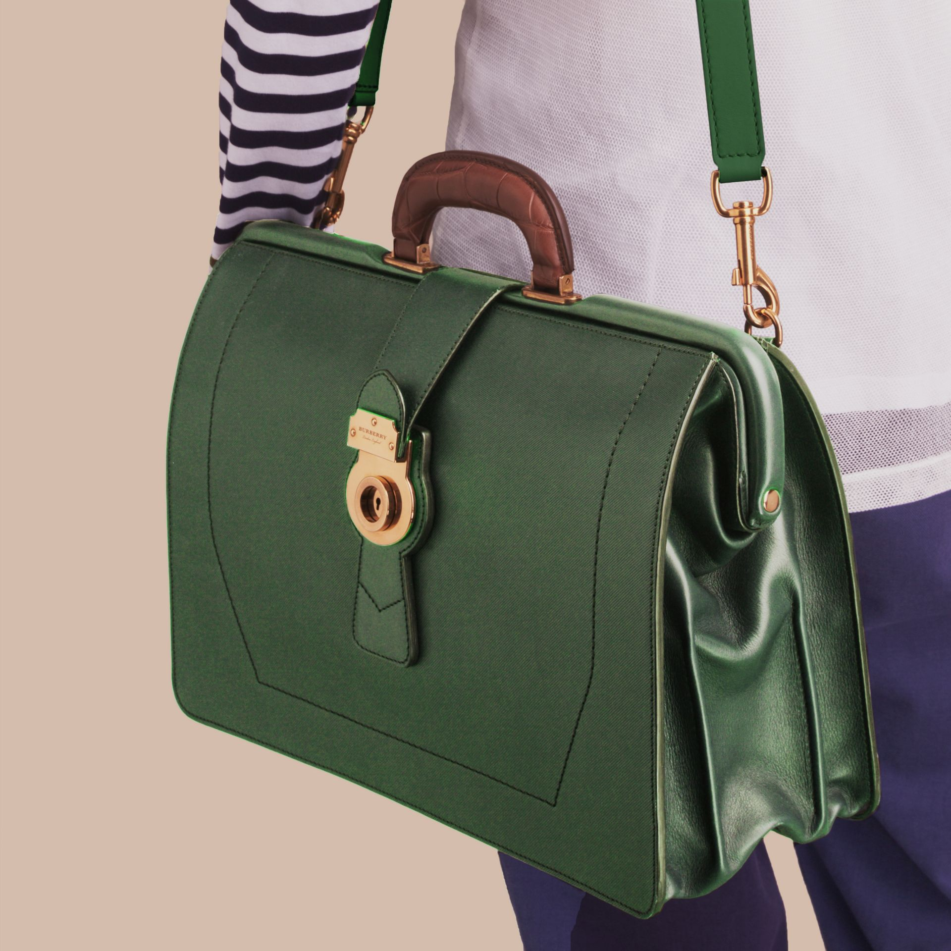 The DK88 Doctor's Bag with Alligator in Dark Forest Green - Men | Burberry United Kingdom - gallery image 7
