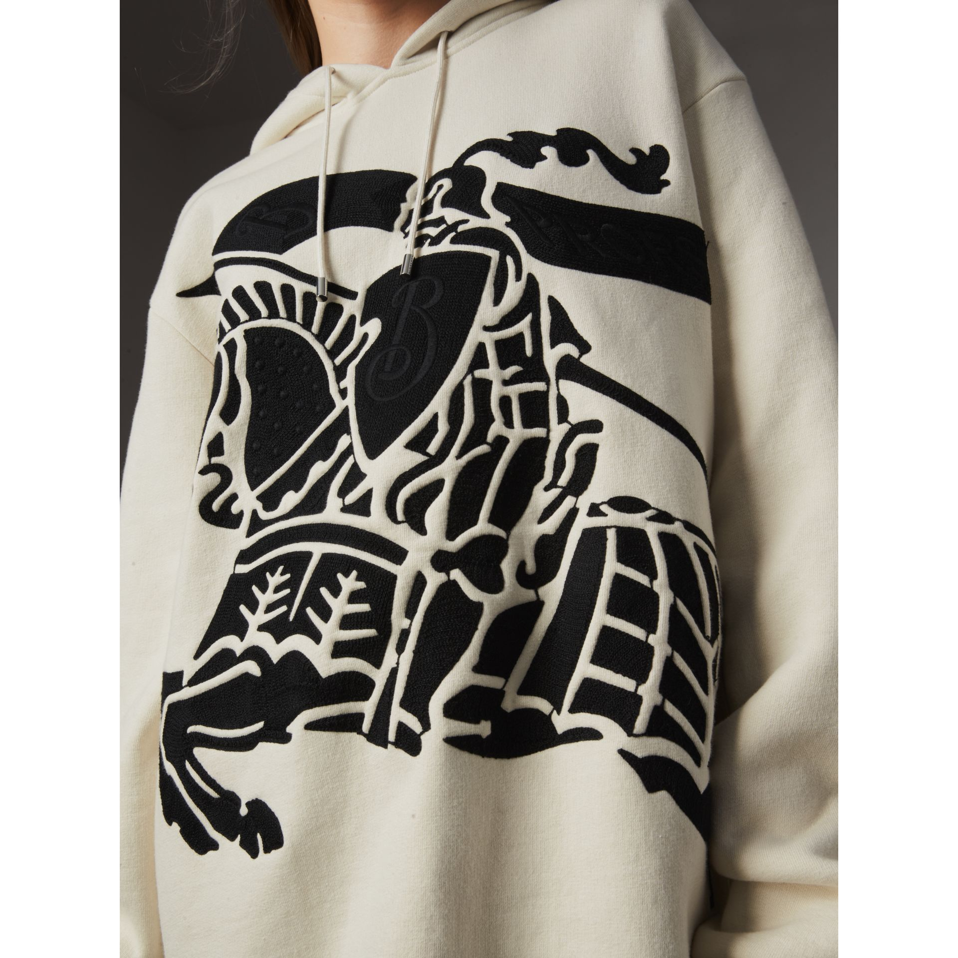Equestrian Knight Device Cotton Hooded Sweatshirt in Natural White - Women | Burberry - gallery image 1