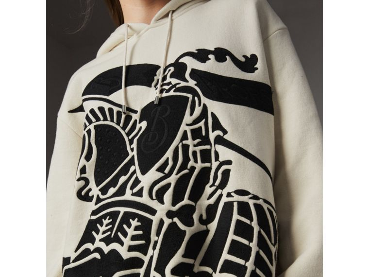 Equestrian Knight Device Cotton Hooded Sweatshirt in Natural White - Women | Burberry United Kingdom - cell image 1