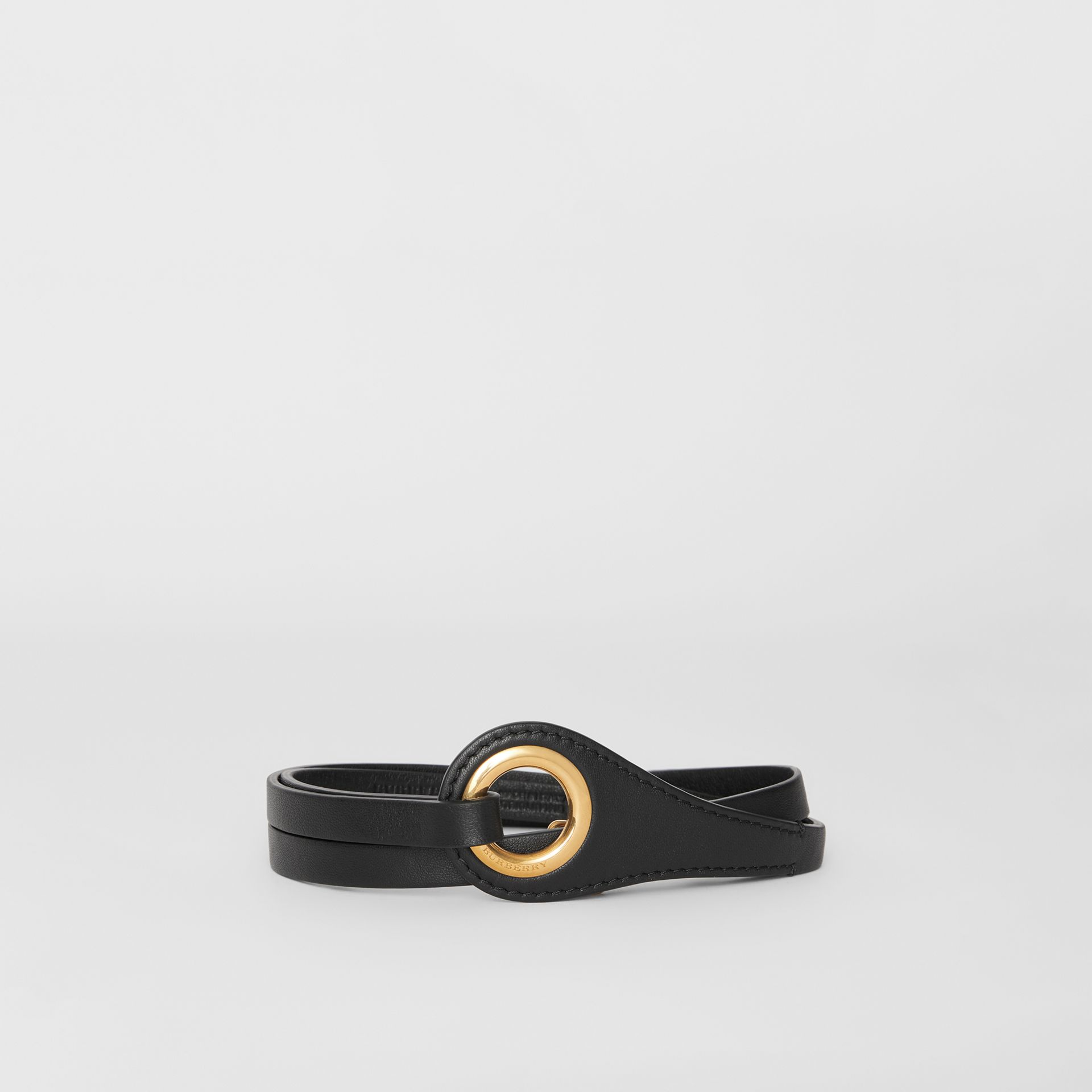 Grommet Detail Lambskin Belt in Black - Women | Burberry - gallery image 0
