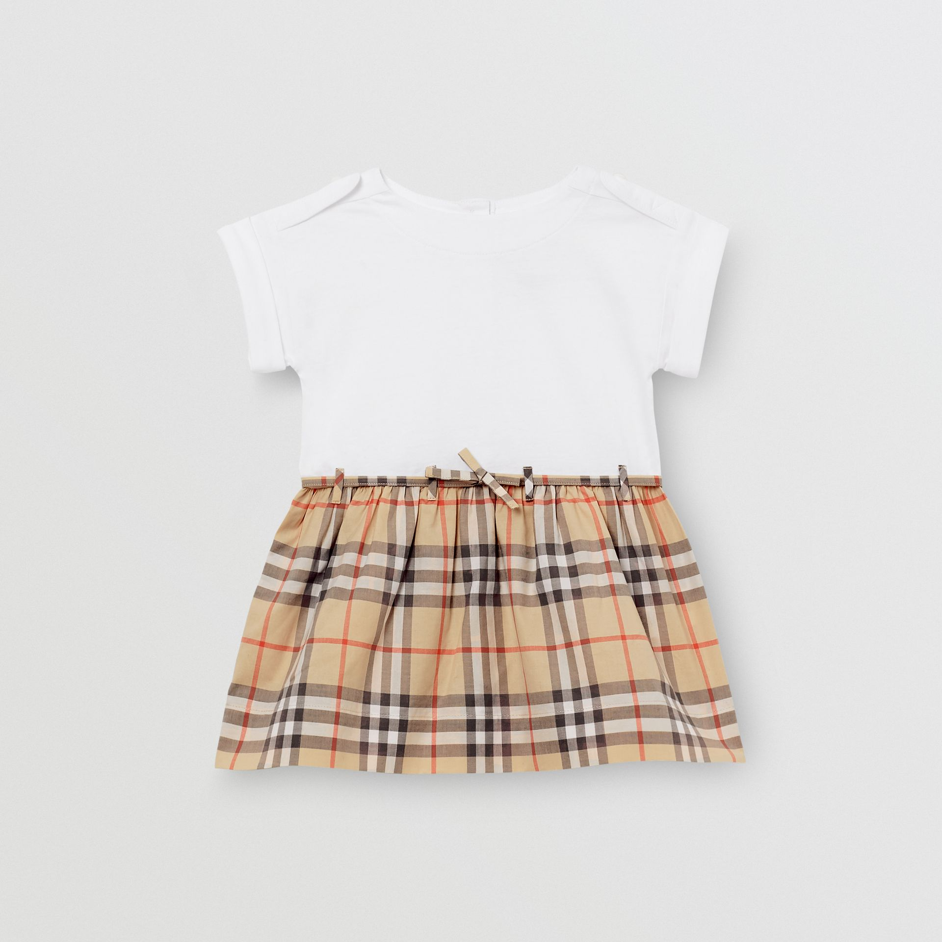 Vintage Check Detail Cotton Dress in White - Children | Burberry - gallery image 0