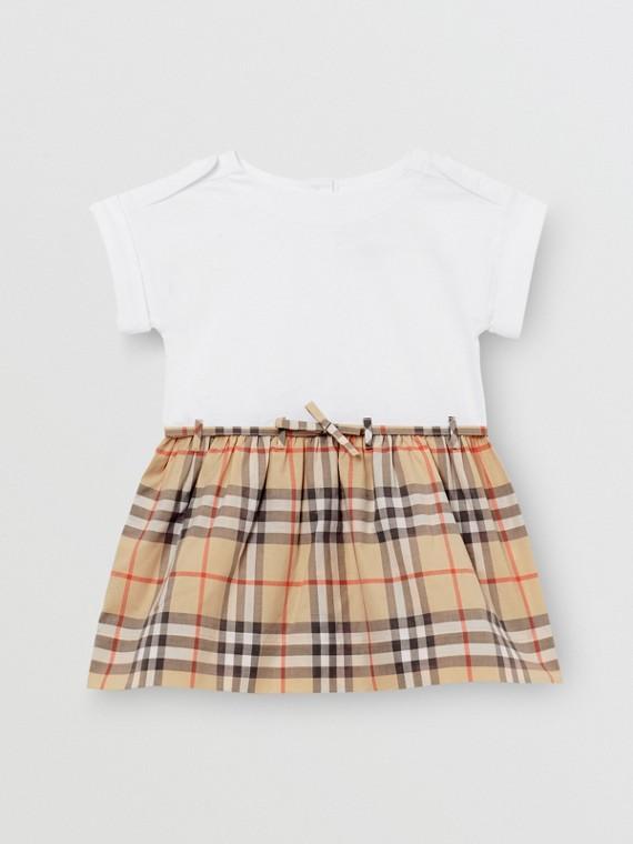 Vintage 格紋細節棉質洋裝 (白色)