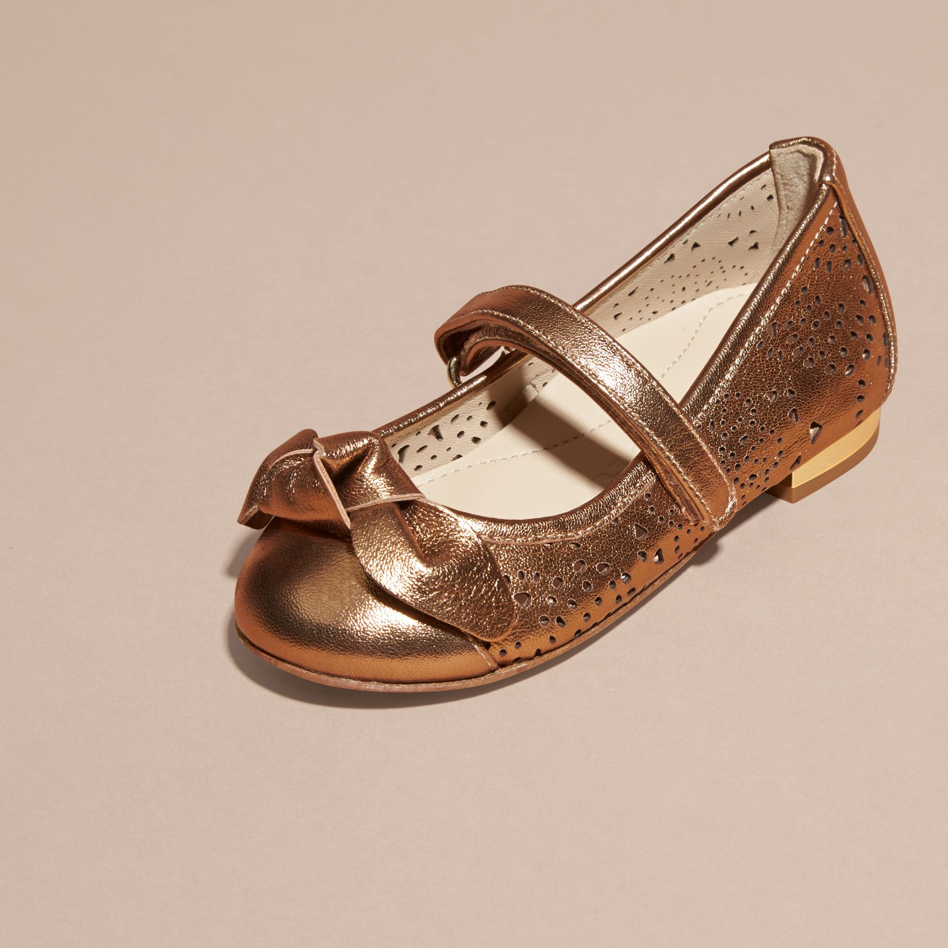 Heritage gold Laser-cut Metallic Leather Ballerinas - gallery image 3