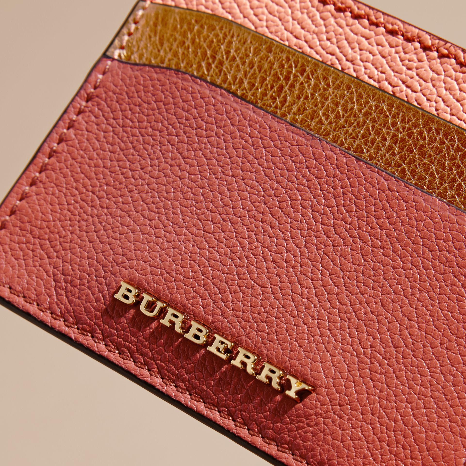 Colour Block Leather Card Case in Copper Pink - gallery image 2