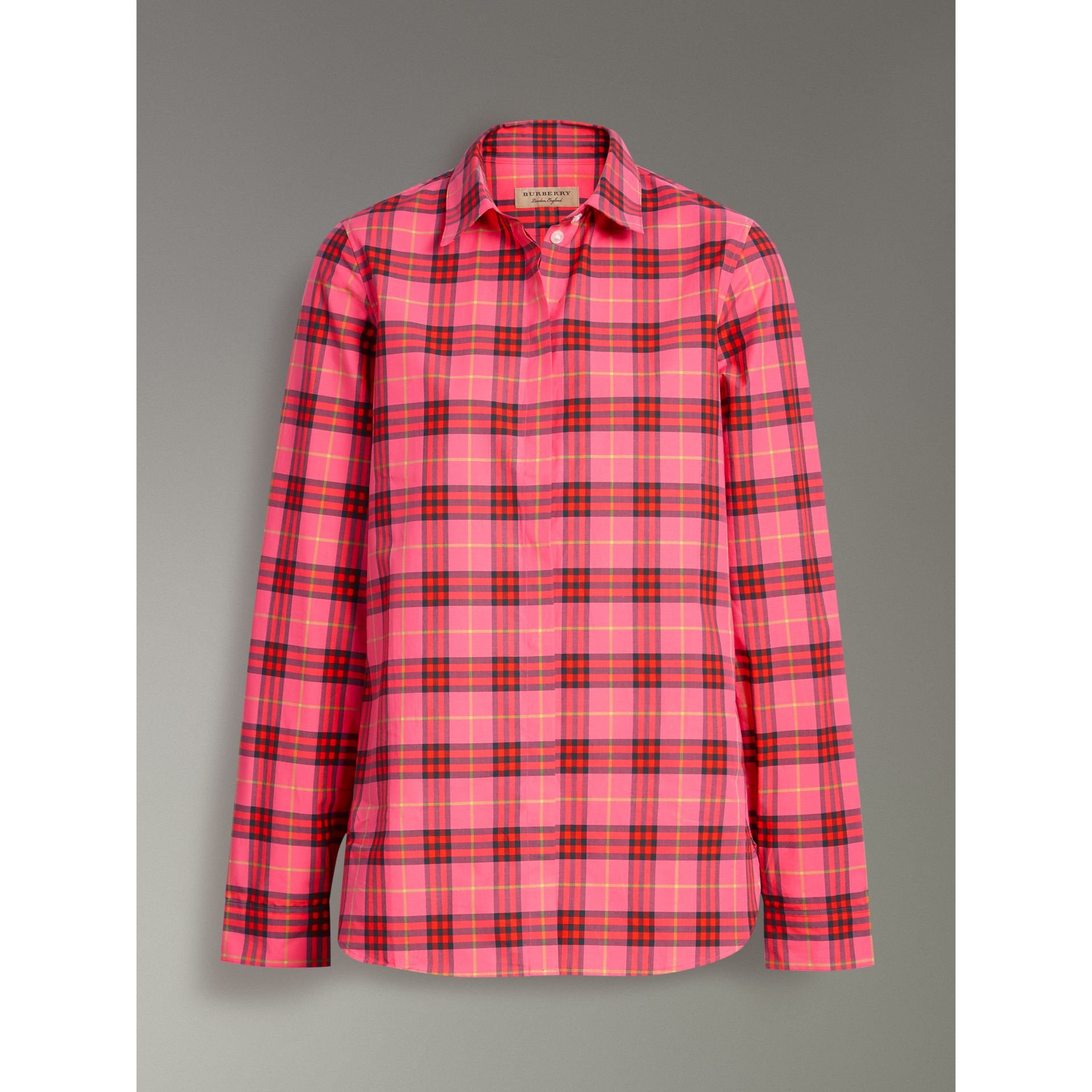 Check Cotton Shirt in Coral Red - Women | Burberry - gallery image 3