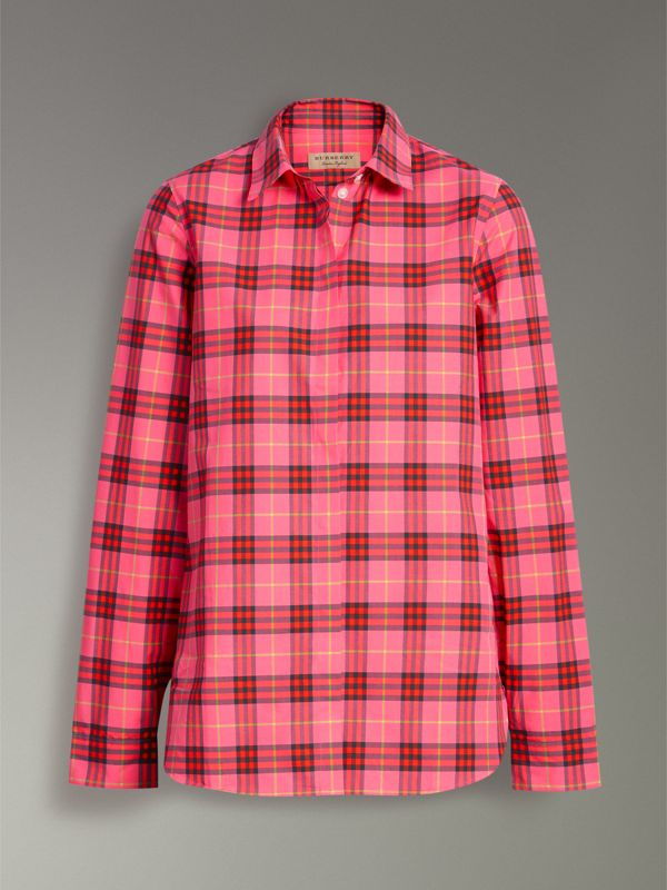 Check Cotton Shirt in Coral Red - Women | Burberry United Kingdom - cell image 3