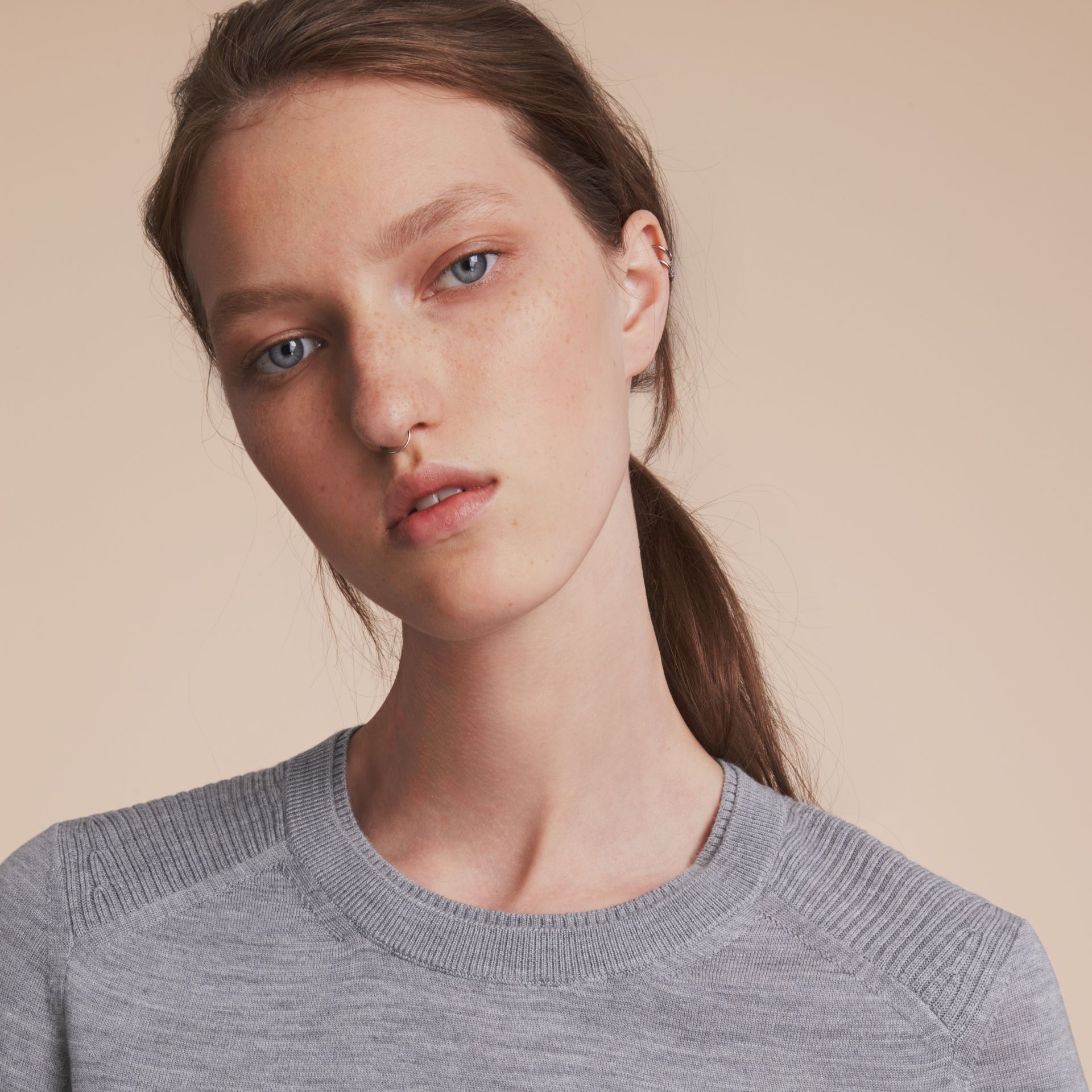 Check Detail Merino Wool Sweater in Mid Grey Melange - Women | Burberry - gallery image 6