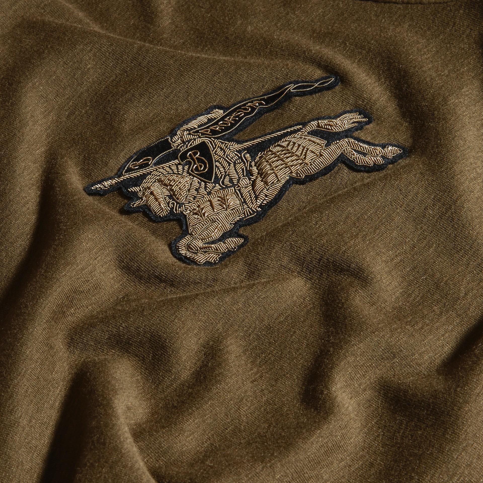Vert militaire T-shirt en coton et laine mélangés Vert Militaire - photo de la galerie 5