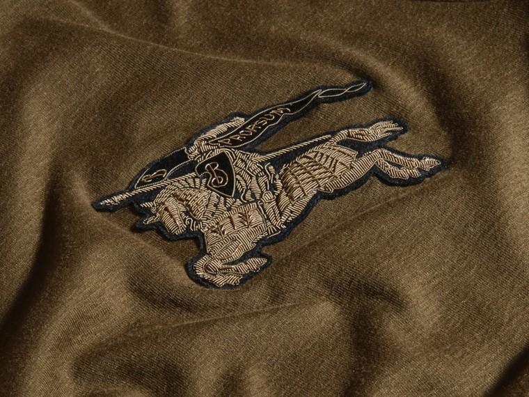 Vert militaire T-shirt en coton et laine mélangés Vert Militaire - cell image 4