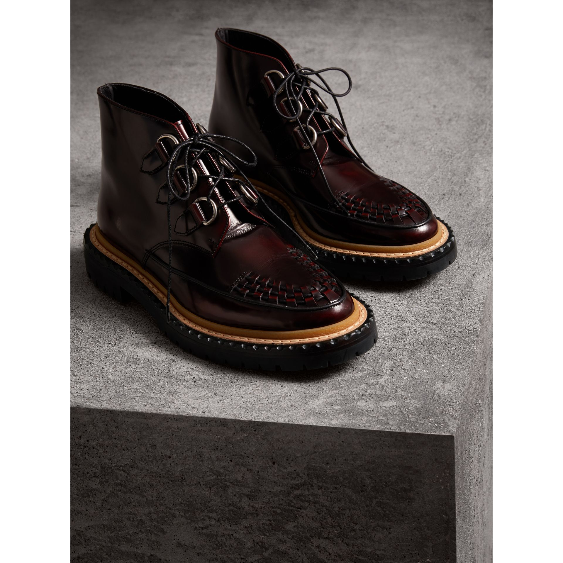 Woven-toe Polished Leather Ankle Boots in Bordeaux - Women | Burberry Singapore - gallery image 3
