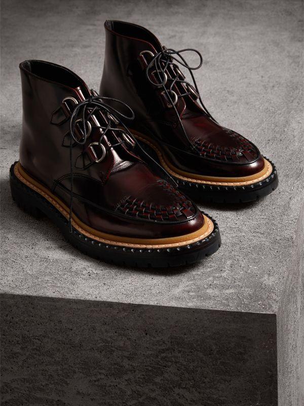 Woven-toe Polished Leather Ankle Boots in Bordeaux - Women | Burberry United Kingdom - cell image 3