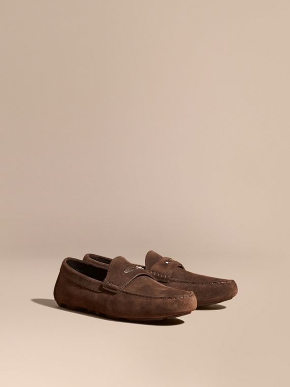 Suede Loafers with Engraved Check Detail Peat Brown